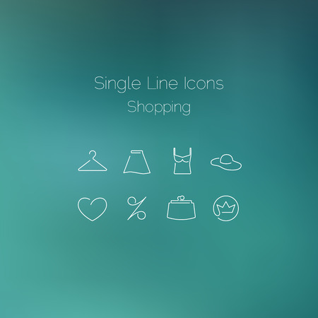single line: Shopping icons set drawn with single line. Elegant series