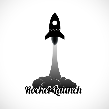 rocket ship: Rocket launch icon. Vector illustration   Illustration