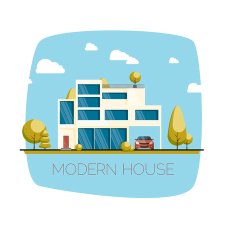 house front: Modern house. Flat design vector illustration. Eps 10 Illustration