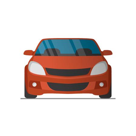 El vector se divierte delantera del coche rojo ilustración de vista