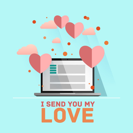 Valentines day illustration. Receiving or sending love emails for valentines day, long distance relationship. Flat design, vector illustration Illustration