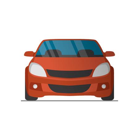 front wheel drive: Vector sports red car front view illustration