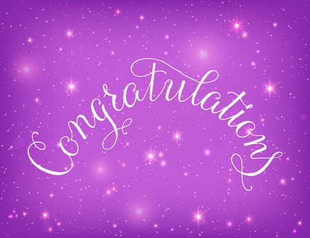 old style lettering: Congratulations lettering illustration hand written design on a gold background. Sparkles and glow background