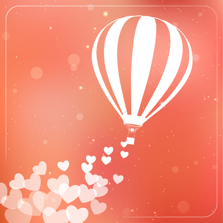 flying balloon: Hot air balloon with flying hearts. Romantic silhouette concept card