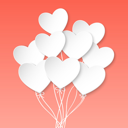 Valentines Day Heart Balloons on pink background. Vector illustration
