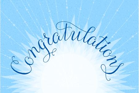 acclaim: Congratulations lettering illustration hand written design on a lite-blue background. Vector illustration.