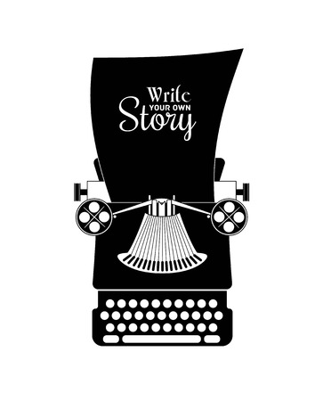 write a letter: Vector illustration of typewriter silouette. Vector eps 10 Illustration