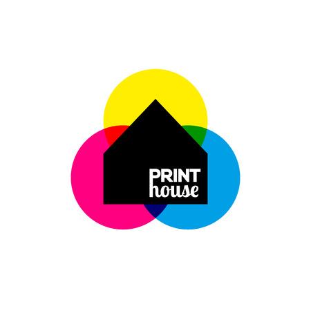 prepress: Vector illustration of printing icon print-house ink symbol design
