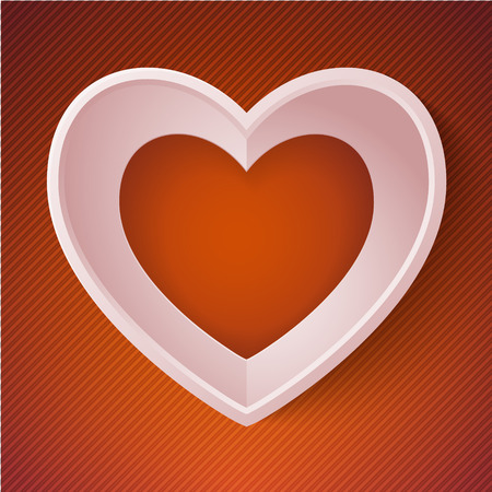 papery: vector heart happy Valentine day love paper 3D frame.