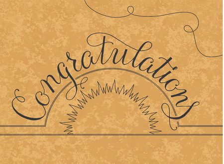old style lettering: Congratulations lettering illustration hand written design on a gold background. Vintage dasign Illustration