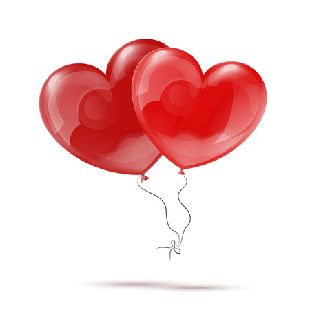 red balloons: Vector Illustration of Two 3d Red Heart Balloons eps 10