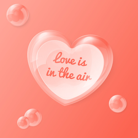 14 feb: Vector illustration of shiny bubble heart with note insiade - original Valentines day card illustration