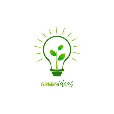 green life: Bulb light with young shoots inside. Vector illustration Illustration