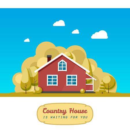 facade: House facade. Traditional cottage. Vector illustration eps 10