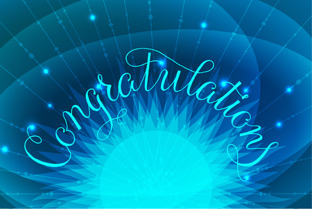 Congratulations lettering illustration hand written design on blue background with glowing letters and sparkles, Vector illustration