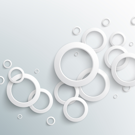 Abstract white paper circles on light background. Vector eps10 illustration Vetores