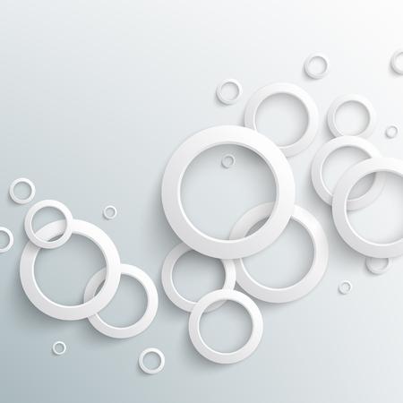 Cerchi astratti di carta bianca su sfondo chiaro. Illustrazione vettoriale eps10 Vettoriali
