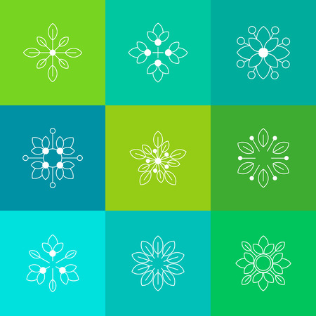 Ecologie en organische symbolen in overzichtsstijl. Witte lijnkunst op kleurrijk concept als achtergrond