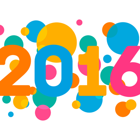 new years resolution: Happy New Year 2016 multicolor background for your greetings card illustration