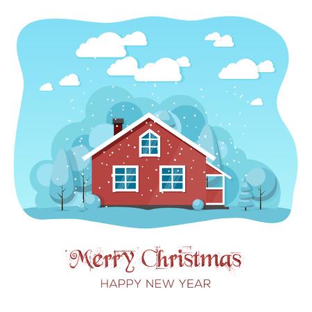 Huis in de winter bos. card achtergrond Kerst poster. Vector illustratie. eps 10 Stock Illustratie