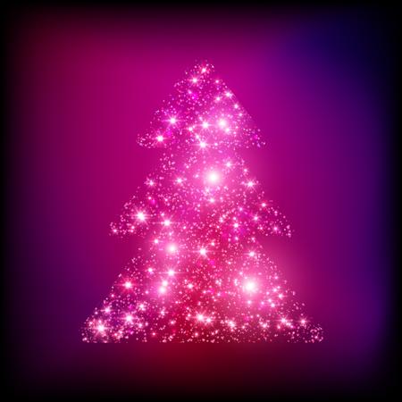 Mousserende kerstboom gemaakt van lichten vector kaart Stock Illustratie