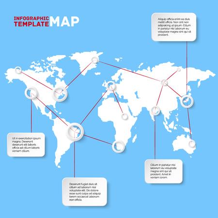 Vector wereldkaart met infografische elementen. Bedrijfs illustratie Stock Illustratie