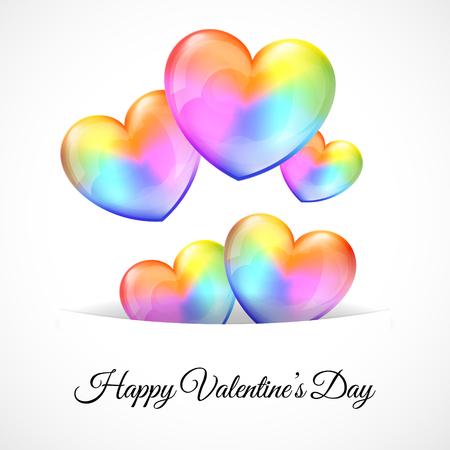 Vector illustratie van een achtergrond met Multicolor Heart Balloons