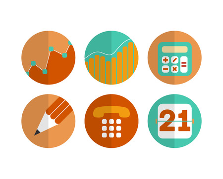 Flat set of modern vector icons and symbols on business management or analytics - vector eps 10 Çizim
