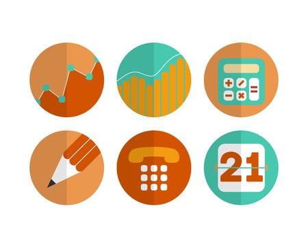 Vlakke reeks moderne vectorpictogrammen en symbolen op bedrijfsleiding of analytics - vectoreps 10