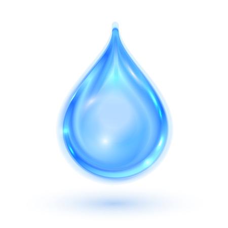Blauwe glanzende waterdruppel. Vector illustratie eps 10 Stock Illustratie