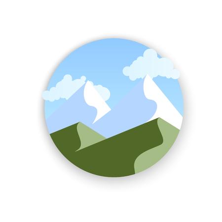 Vector bergen landschap, abstract panoramisch uitzicht, vectorillustratie