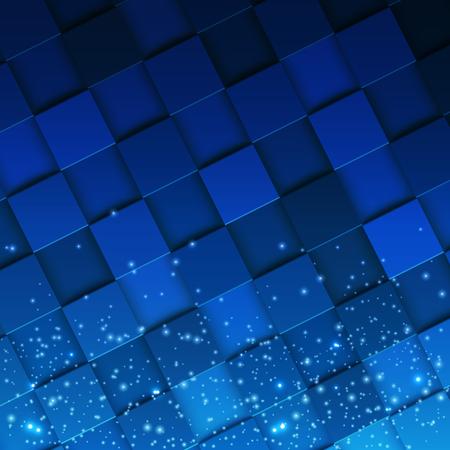 Vierkant mozaïek 3d. Moderne kleurrijke textuur die uit tegels witn magische fonkeling wordt samengesteld. Vector illustratie. Stockfoto