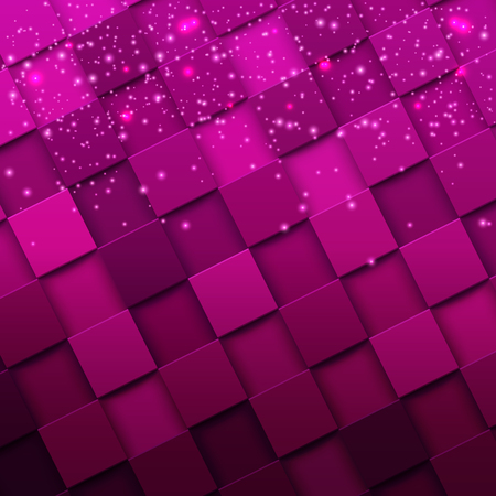 Square mosaic 3d. Modern colorful texture composed of tiles witn magic sparkle to it. Vector illustration.
