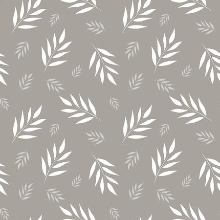 Naadloos abstract bloemenpatroon. Grijze en witte vectorachtergrond. Bladeren ornament voor verpakking, behang, tegels Stock Illustratie