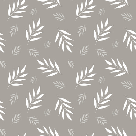 Seamless abstract floral pattern. Gray and white vector background. Leaves ornament for wrapping, wallpaper, tiles
