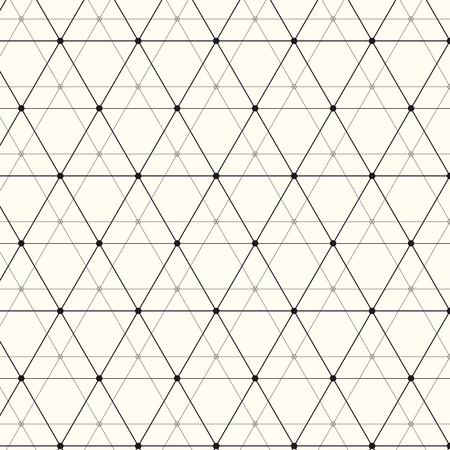 Modern stylish texture. Repeating geometric background with linear triangles, rhombuses and circles in nodes. Trendy hipster sacred geometry.