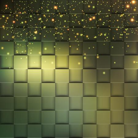 Vierkant mozaïek 3d. Moderne kleurrijke textuur die uit tegels met magische fonkeling aan het wordt samengesteld. Vector illustratie.