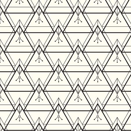 Moderne stijlvolle textuur. Herhalende geometrische achtergrond met lineaire driehoeken met een etnische uitstraling. Trendy hipster heilige geometrie.