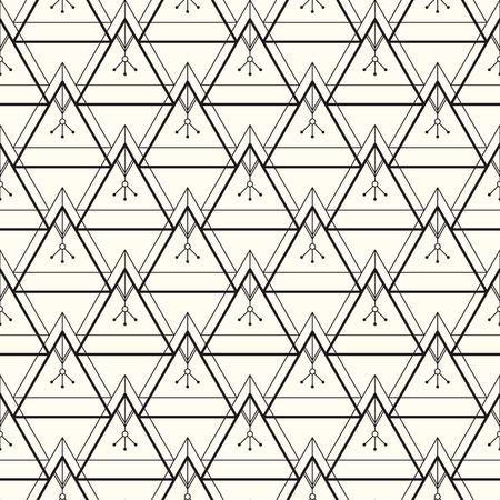 Vector naadloos patroon. Moderne stijlvolle textuur. Herhalende geometrische achtergrond met lineaire driehoeken met een etnische uitstraling. Trendy hipster heilige geometrie.