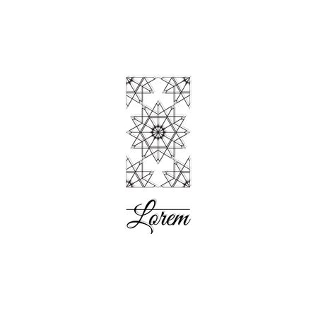 Ornamental logo template design. Elegant vertical graphic element with linear rhombus grids, stears and sqyare. Vector symbol Çizim