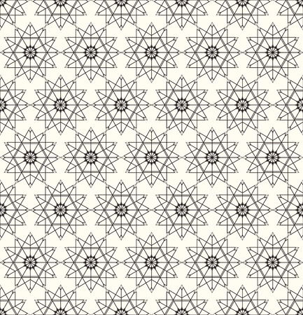 Seamless pattern. Repeating modern stylish geometrical texture with linear rhombus grids, stars, outline square. Vector contemporary design