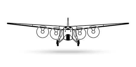 Vintage retro airplane icon.