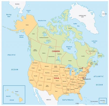 map of the united states: north america map