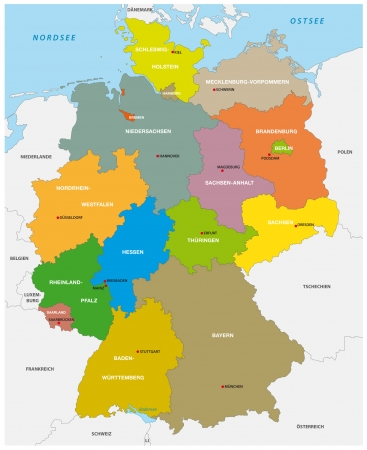 germany administrative map Иллюстрация