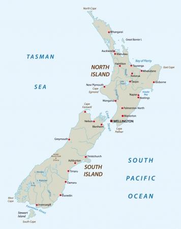 north island: new zealand map Illustration