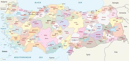 turkey istanbul: TURCHIA Mappa amministrativo Vettoriali