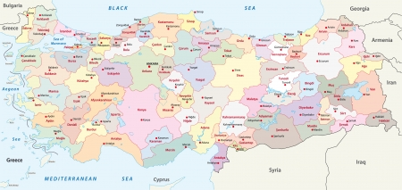 south east asia: turkey administrative map