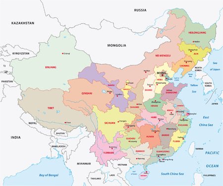 administration: china administrative map Illustration