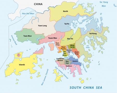 mapa china: mapa administrativo hong kong Vectores