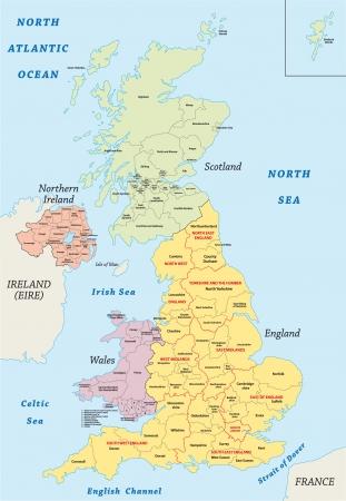administrativo: mapa administrativo reino unido Vectores